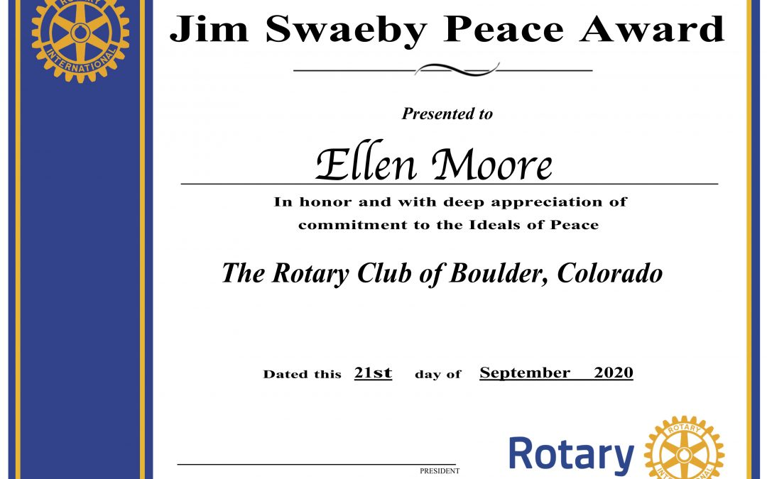 BRC Presents 2020 Jim Swaeby Peace Award to Ellen Moore